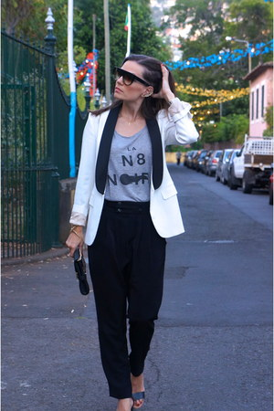 white Massimo Dutti blazer - Michael Kors bag - black Zara pants