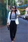 White-massimo-dutti-blazer-michael-kors-bag-black-mango-sandals