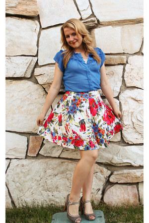 off white floral print skirt