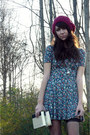 Teal-matter-sound-dress-maroon-wool-beret-pacsun-hat-black-target-tights-