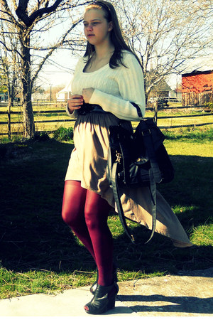 cream Walmart sweater - maroon Nasty Gal tights - black Forever 21 wedges - came