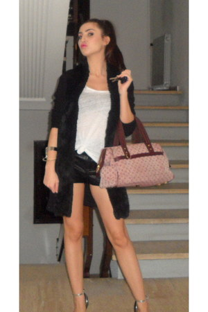 leather shorts Topshop shorts - Louis Vuitton bag - Zara top - Zara cardigan