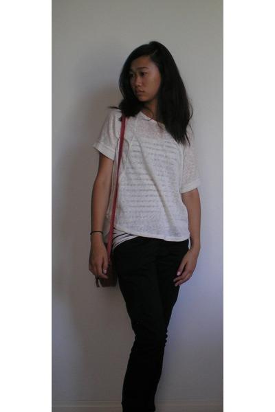 white top - crimson liz claiborne bag - cream cream colored blouse - black pants