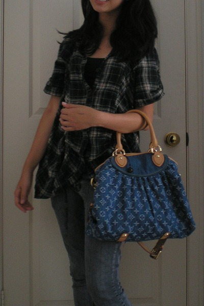 shirt - grey distressed jeans - denim Louis Vuitton bag