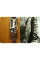 blazer - cotton on t-shirt - Levis shorts - stockings