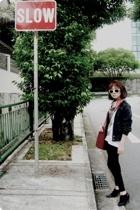 jacket - cotton on sunglasses - scarf - boots - Mango t-shirt
