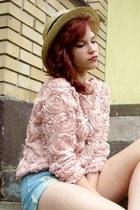 light pink blouse - camel H&M hat - sky blue shorts