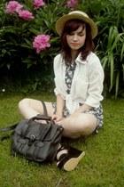 navy Pepco dress - camel H&M hat - white OASAP shirt - black olsenboye bag
