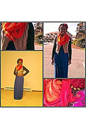 carrot orange Jcrew scarf - blue  Forever21 dress - beige vest