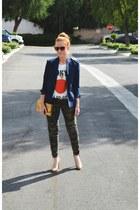 vintage blazer - camo skinny jeans - gold clutch bag