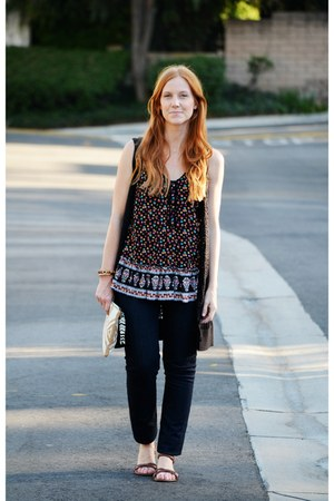grunge floral shirt - navy always skinny Gap jeans - beaded Anthropologie bag