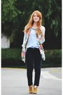 Bronze-boots-black-jeans-floral-scarf-periwinkle-vintage-blouse