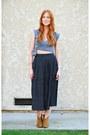 Camel-ankle-candies-boots-black-midi-vintage-skirt