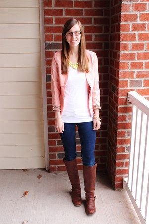 pastel sammydress blazer - brown JustFab boots - v-neck Target shirt
