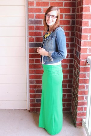 denim Target jacket - basic Target shirt - maxi Amazon skirt