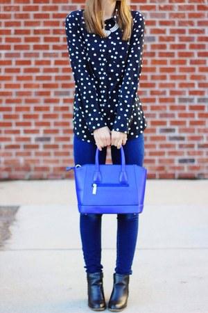 black ankle Target boots - blue skinny jeans - blue satchel OASAP bag