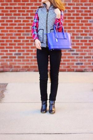 black ankle Target boots - red plaid shirt - blue satchel OASAP purse