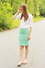 White-old-navy-shirt-statement-kohls-necklace-mint-ross-skirt