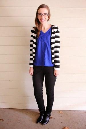 cobalt OASAP shirt - booties Target shoes - black Lee jeans