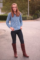 brown JustFab boots - dark Forever 21 jeans - chambray Old Navy shirt