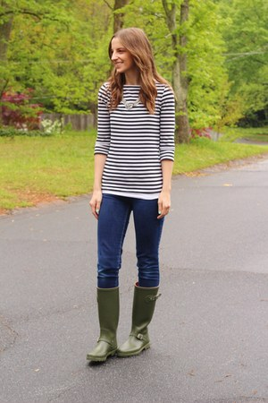 rain boots Joe Fresh boots - skinny Ross jeans - striped Target shirt