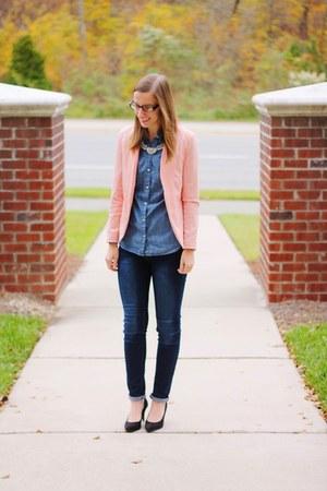 pink sammydress blazer - skinny Ross jeans - chambray Old Navy shirt
