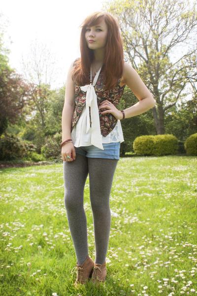 off white Topshop blouse - sky blue Newlook shorts - black vintage vest