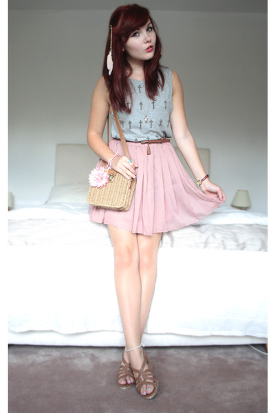 light pink pleated skirt OASAP skirt - tan Primark bag