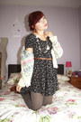 Navy-dress-heather-gray-oasap-tights-eggshell-the-village-green-cardigan