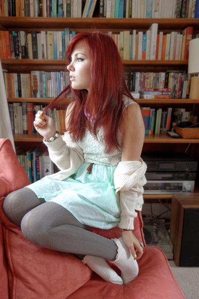 eggshell frilly socks Topshop socks - light blue Zara dress