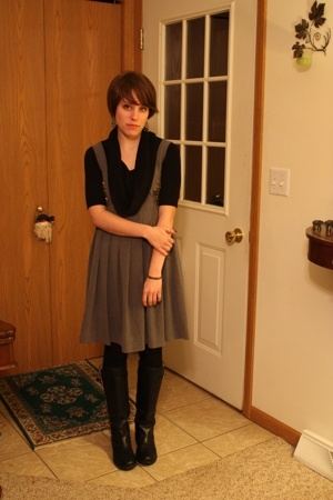 Karta dress - sweater - HUE tights - coach boots - bracelet
