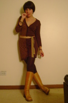 forever 21 dress -  belt - HUE tights - vintage shoes