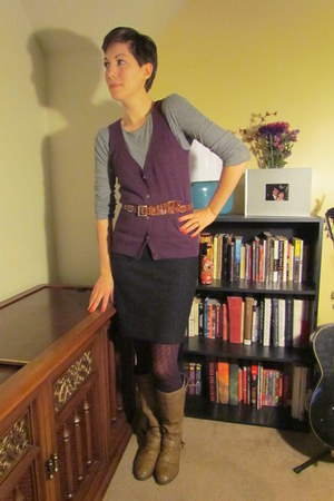 brown thrifted Capezio belt - light brown Target boots - purple Old Navy tights