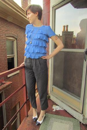 gray vintage pants - navy vintage ferragamo pumps - blue H&M blouse
