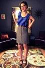 Blue-top-brown-calvin-klein-belt-heather-gray-vintage-skirt