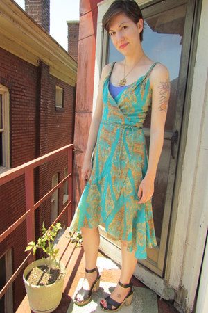 turquoise blue Diane VonFurstenberg dress - light purple Old Navy top