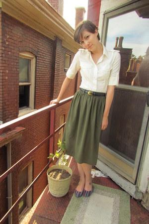 white Norma Kamali blouse - olive green vintage skirt - navy liz claiborne belt