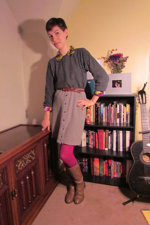 light brown Target boots - charcoal gray vintage sweater