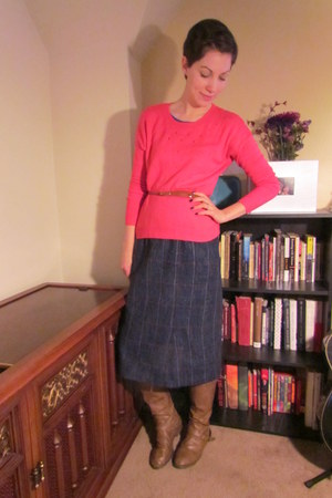 hot pink Gap sweater - light brown Target boots - light brown thrifted belt