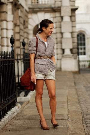 beige shorts - gray blazer - brown accessories