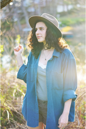 light brown Urban Outfitters hat - teal l l bean shirt