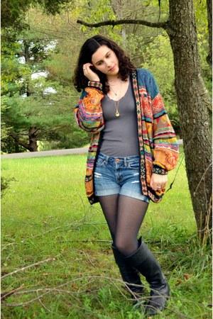 carrot orange thrifted sweater - black seychelles boots - black kohls tights