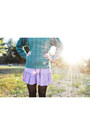 Teal-thrifted-jumper-light-purple-charlotte-russe-dress-black-dkny-tights