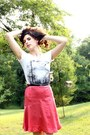 White-thrifted-t-shirt-hot-pink-hand-me-down-skirt-black-kohls-belt-black-