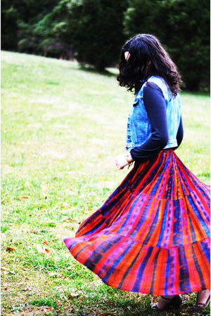 ruby red de ma mere skirt - blue thrifted vest