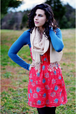 black kohls boots - ruby red Aerie dress - blue Billabong dress