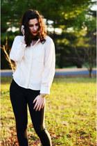 black kohls boots - black Jessica Simpson jeans - ivory Apt 9 blouse