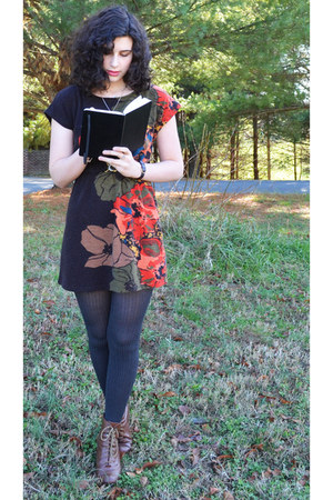dark brown Forever 21 dress - brown elle boots - charcoal gray Apt 9 tights