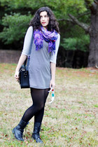 black thrifted vintage dress - silver kohls shirt - purple beachy scarf