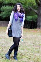 black thrifted vintage dress - silver kohls shirt - purple beachy scarf